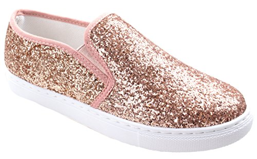 Slip On Glitter Fashion Sneakers White Sole Shoes Closed Toe, Champagne, 8