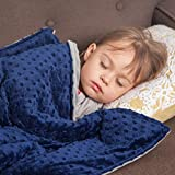 Roore 5 lb Weighted Blanket for Kids I 36'x48' I Weighted Blanket with Plush Minky Blue Removable Cover I Weighted with Premium Glass Beads I Perfect for Children from 40 to 60 lb ( 5lb Blue)