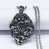 YUANBOO Piedra Montaña Acero Inoxidable Cuello Largo Largo Collares Hombres Silver Color Jewelrypendant