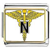 Italiano enfermera Golden ángel ala Caduceo charms pulsera enlace joyería de venta barato