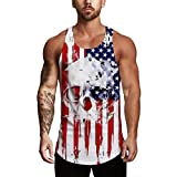 Men's Sleeveless Tank Tops Independence Day Printing Vest Mesh Breathable Bodybuilding Sport Shirts (L, White)