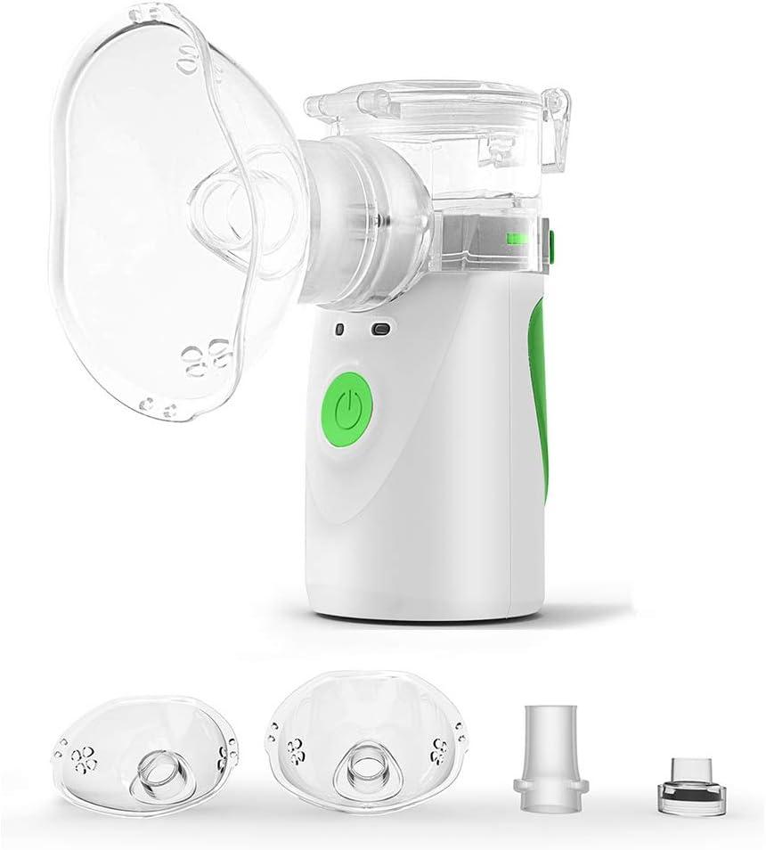 Dr.Taylor Inhaladores Portátil Automática, Cámara en Mano por Ultrasonidos Silencioso Malla Nebulizador, Inhalador de Vapor Médico para Adultos y Niños,Verde