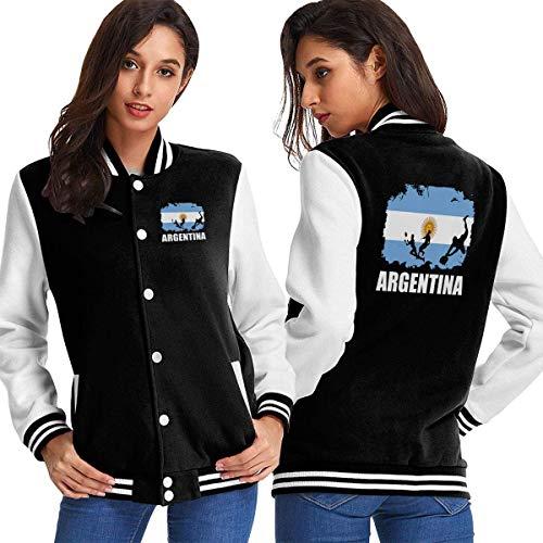 BYYKK Mujer Chaquetas Ropa Deportiva Abrigos, Argentina Flag Football Rugby Women's Long Sleeve Baseball Jacket Varsity Jacket
