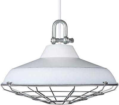 DRQ LED Cocina Loft Sala De Estar Luces Colgantes Retro Hierro Industrial Lámparas De Metal Sombra 220 V Lámpara De Techo E27 (Sin Bombilla),White-45 * 30cm: Amazon.es: Hogar