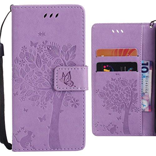 Ougger Handyhülle für Huawei P9 Plus Hülle Tasche, Einzigartiger Baum BriefHülle Tasche Schale Schutzhülle PU Leder Weich Magnetisch Silikon Flip Cover mit Kartenslot (Helles Lila)