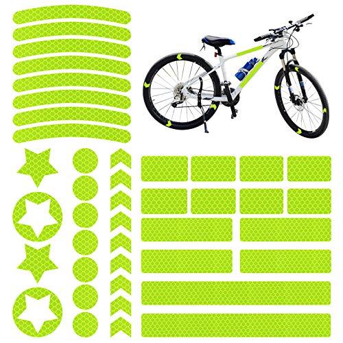 Vegena Reflektoren Fahrrad, 42 Stück Fahrrad Aufkleber Reflektor Sticker, Reflektierende Aufkleber Kleidung, Fahrradaufkleber Reflektorband für Helm Kinderroller Kinderwagen Fahrräder Skateboard Auto