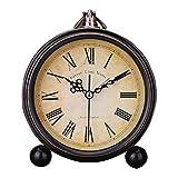 PLEASUR Vintage Wecker, stumm Metall Nacht Wake Up Schreibtisch Uhr Arbeitszimmer kleine Tischuhr Home Decor Handwerk Zeiger schönen Klang Junge Mädchen, Black