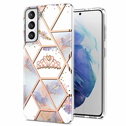 Miagon Marble Series Case for Samsung Galaxy S21,Slim Bumper for Girls Thin Stylish Soft TPU Bumper Protective Phone Cover,Purple Marble Flower
