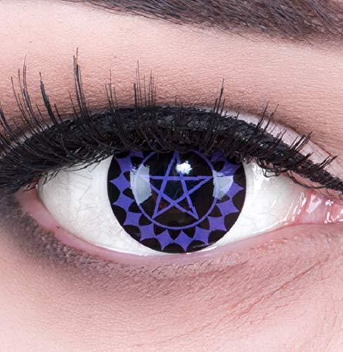 Meralens 1 Paar Farbige Anime Sharingan Kontaktlinsen Black Butler in lila schwarz perfekt zu Manga Hereos of Cosplay, Halloween mit gratis Kontaktlinsenbehälter lilane 12 Monatslinsen ohne Stärke