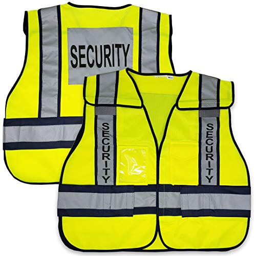 VIEWBRITE Reflective Class 2 Security Vest Lime Green - 5 Point Breakaway High Visibility Yellow Safety Vest