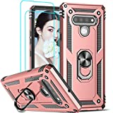 LeYi Compatible for LG Stylo 6 Case, LG Stylo 6 Phone Case with [2 Pack] Tempered Glass Screen Protector, [Military-Grade] Armor Protective Case with Magnetic Ring Kickstand for LG Stylo 6, Rose Gold