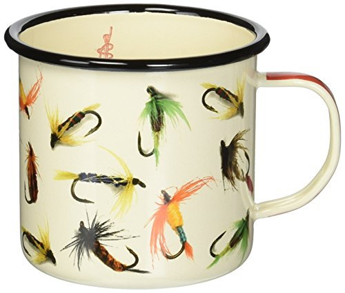 Gentlemen's Hardware AGAM017 Fishing Hooks Sportsman's Camping and Outdoor Enamel Mug, White