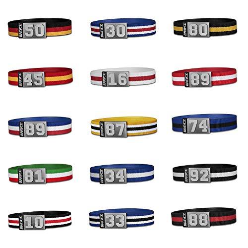 BRAYCE® Trikot am Handgelenk® mit Deiner Trikot Nummer 00-99 I Armband in Allen Farben I Sportarmband/Teamarmband personalisierbar & handgemacht