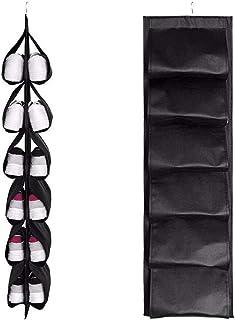 Souarts Sac à Chaussures à 12 Grilles Sac de Rangement pour Chaussures Vestiaire Suspendu Sac de Rangement Multifonctionne...