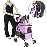 hinffinity Pet Strollers, 3 Wheel Pet Stroller Pet No-zip Easy Foldable Three Wheels