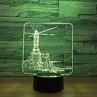 Dtcrzj Hi 灯台デザイン3D Ledナイトライト7色変更ムードランプUsb 3Dイリュージョンテーブルランプ家庭用