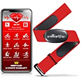 "Mo-Fit Heart Rate Monitor Chest Strap for Garmin, Apple, Android, Peloton, Zwift, ANT+ and Most Bluetooth 4.0 Enabled Fitness Devices (M-XXL: 26""-39"" (66-99 cm), Red)"