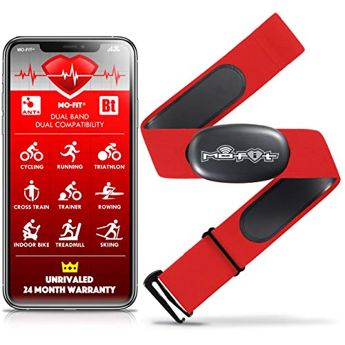 """Mo-Fit Heart Rate Monitor Chest Strap for Garmin, Apple, Android, Peloton, Zwift, ANT+ and Most Bluetooth 4.0 Enabled Fitness Devices (M-XXL: 26""""-39"""" (66-99 cm), Red)"""
