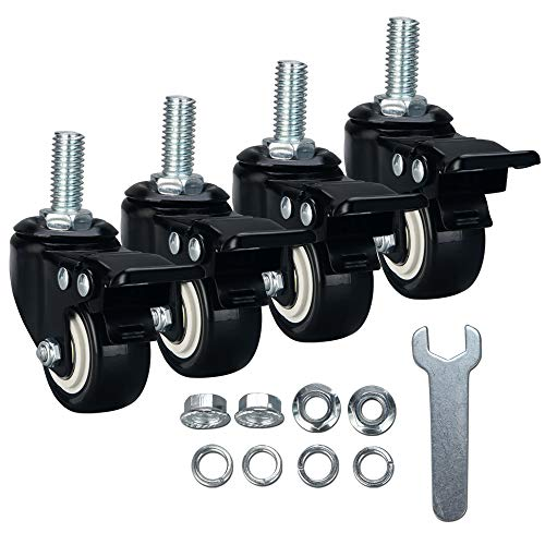 "DYREOOE 2"" Casters, 1/2""-13x1""(Screw Diameter 1/2"", Screw Length 1"") Stem Caster Wheels, Locking Swivel Casters Set of 4, No Noise 4 Pack Casters with Brake, Heavy Duty 1/2""-13x1"" Stem Caster wheels"