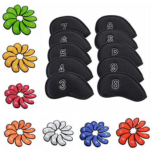 Sword &Shield sports 10Pcs/Pack New Meshy Golf Iron Covers Set Golf Club Head Cover Fit Most Irons £¨Yellow