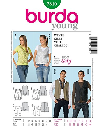 Burda 7810 Schnittmuster Weste (Damen & Herren, Gr, 32 - 44/44 - 54) Level 1 super easy