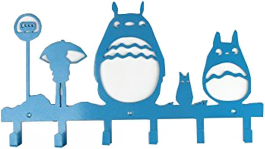 WGW Animal Cat Girl Pattern Classic Simple Metal Bag Hanger Coat Rack Clothing Heavy Hooks Blue