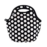 BUILT LB31-BBW Gourmet Getaway Soft Neoprene Lunch Tote Bag - Lightweight, Insulated and Reusable, One Size, Big Dot Black & White