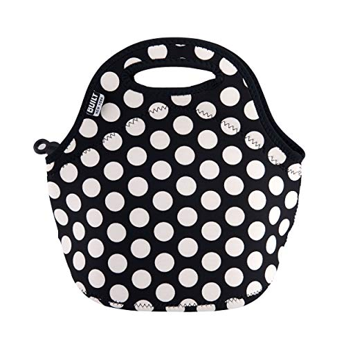 BUILT Gourmet Getaway Soft Neoprene Lunch Tote Bag - Lightweight, Insulated and Reusable, One Size, Big Dot Black & White