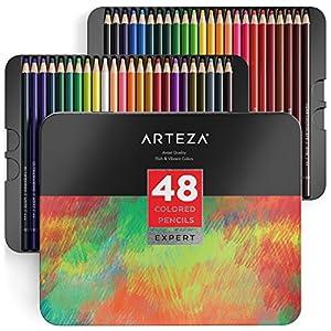Arteza Lápices de colores profesionales para adultos y niños, Juego de 48, Estuche portátil de latón, minas resistentes…