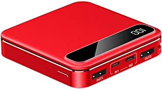High quality power bank Power Bank 10000mAh Portable Phone Charger Mini business compact mobile power Compatible for iPhone iPad Samsung Android Tablet (Color : Red)