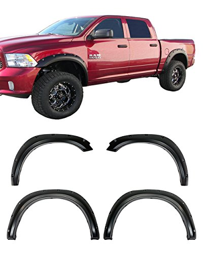 Galaxy Auto Fender Flares for 2009-18 Dodge Ram 1500 (Fleetside Models ONLY) NOT for R/T Models - Pocket Riveted Style in Paintable Smooth Matte Black - 4 Piece Set