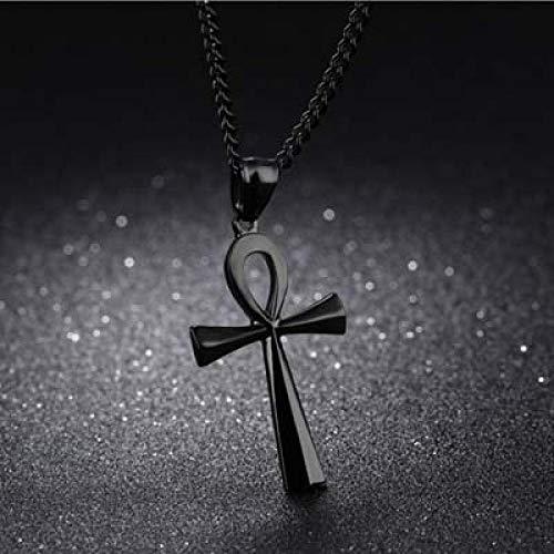 U/D Collar de Cruz egipcia con Colgante de Cruz de Acero Inoxidable, símbolo de la Vida, joyería, Regalo de cumpleaños