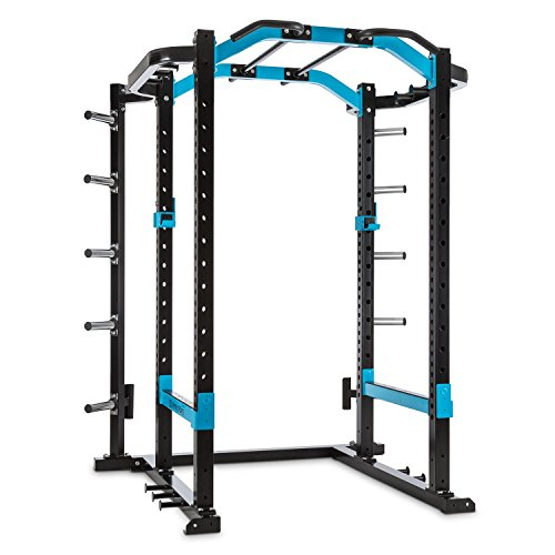 Capital Sports Amazor P Kraftstation Käfig - Power Rack, Power Cage, Gewichthebe- und Klimmzugübungen, höhenverstellbare J-Cups, Safety Spotter, Klimmzuggriffe, Stahlrahmen, schwarz-blau