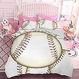 Patrón de ropa de cama impresa en 3D de bolas de béisbol fondo Home Run Reglas del juego éxito puntuación impresión (3 piezas, tamaño queen) edredón y dos fundas de almohada