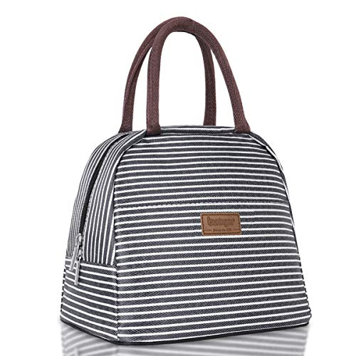 Buringer Reusable Insulated Lunch Bag Cooler Tote Box with Front Pocket Zipper Closure for Woman Man Work Picnic or Travel (Black White Strip,Large Size)