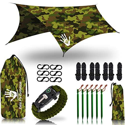 Rain Fly EVOLUTION 12 x 10 ft Camping Hammock RAIN Fly Waterproof Tent TARP – Lightweight – Backpacker Approved – Diamond Ripstop – Perfect Hammock Shelter – CAMO Jungle