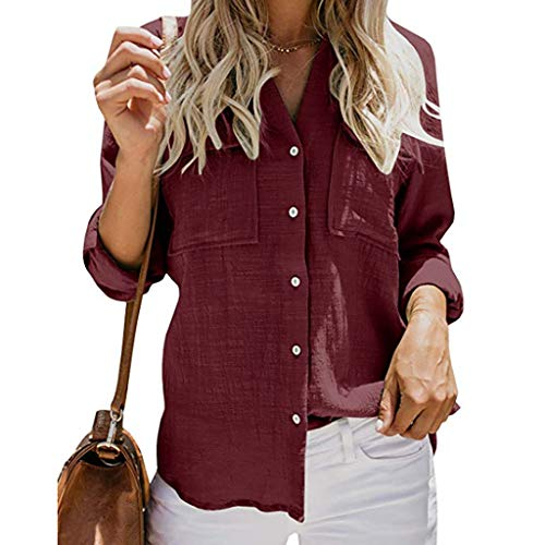 Buy Womens Blouse V Neck Shirts Button Down Long Sleeve Casual Loose Collared Tops with Pockets (S, ...