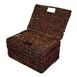 Rectangular Basket w Lid in Rich Walnut Finish - Set of 2