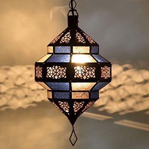 Orientalische Lampe Marokkanische Pendelleuchte | Echtes Kunsthandwerk aus Marokko wie aus 1001 Nacht | Hängelampe Leuchte Pendellampe Laterne | Hängeleuchte Maha Blau-Weiss