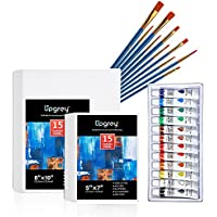 UPGREY 2 Sizes Canvas Boards with 12 Color Acrylic Paint & 10 Brushes
