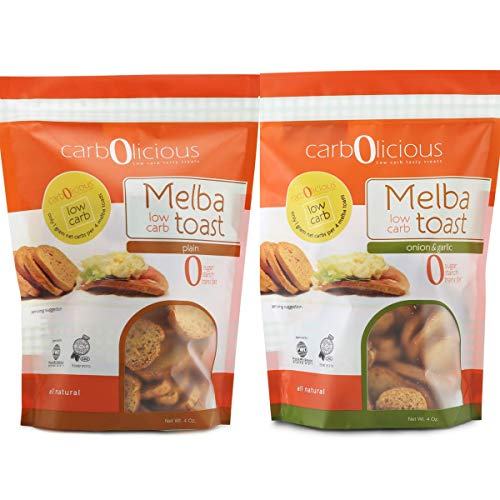 Low Carb Melba Toast I Keto Friendly I 1 Net Carb Per Serving I Variety (2) Pack 4oz each (1 Plain, 1 Onion & Garlic)