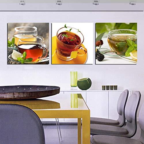KDSFHLL 3 dekorative Gemälde Küche 3 Stück Leinwand Wandkunst Moderne Kaffee Wand Tee Malerei Blume Home Kunst Bild Malen Auf Leinwand Dekor