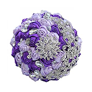 HaHapo Mint Green Rose Bridal Bouquets Silver Diamond Tassel Crystal Bouquet Bridesmaid Holding Artificial Flowers Brooch Bouquet W571-Purple Lilac