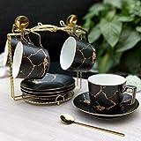 SSHDX Juego de Cuchara de Taza de café de cerámica de mármol de mármol 200ml Taza de té nórdico Mate té té té Taza Taza café café Espresso