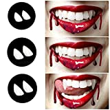 Xingqijia 3 Sizes Vampire Fangs Teeth with Glue Halloween Party Cosplay Props White Horror Fake Teeth Props Party Favors Dress Up Accessories