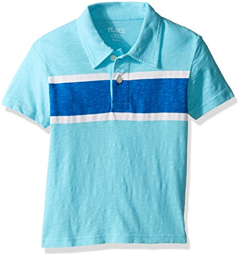 The Children's Place Boys' Big Polo Shirt with Stripe, H/T Smoke, L (10/12)