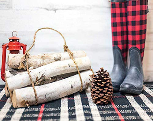 Aofire Buffalo Check Plaid Diamond Painting Kits for Adults Kids, Rustic Winter Farmhouse with Boots Birch Pinecone Painting by Number Diamond Dotz 5D Crystal Gem Arts Wall Decor 16x20 Inch