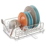 mDesign Escurridor de platos con bandeja de goteo – Rejilla escurreplatos para...