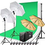 Fotostudio Green Screen Set, 2x125W Fotolampe mit Fotoschirm, Fotohintergründe Set