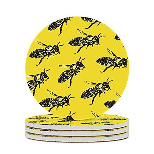 KittyliNO5 Posavasos redondos de cerámica con diseño de abejas, color amarillo, juego de 4/6 piezas, absorbentes con dorso de corcho para tazas y tazas, color blanco, 4 unidades